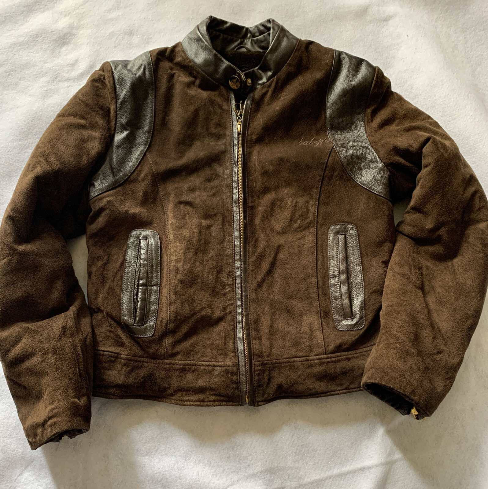 BABY PHAT Brown Suede & Leather Plush Lined Jacket Women M Genuine Leather