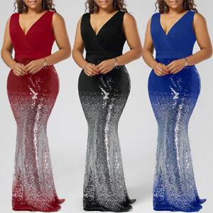 15d6358d04fe1 Formal Women Plus Size Sequins Mermaid Maxi Long Cocktail Prom Dress ...