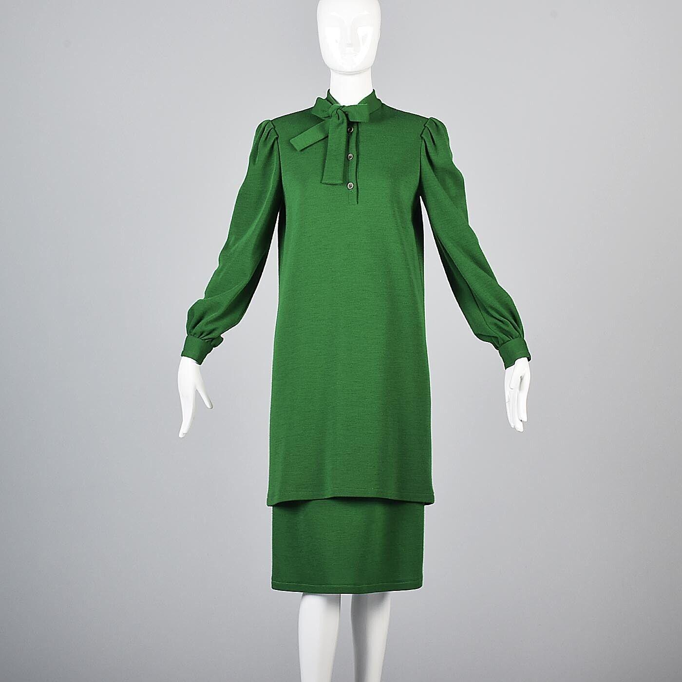 Vintage XS  1970s 70s Bill Blass verde Lana de Punto Vestido Falda Traje Conjunto separa  calidad fantástica