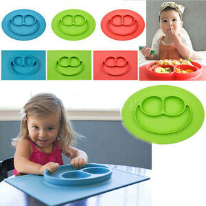 Cute Silicone Happy Mat Baby Kids Suction Table Food Tray