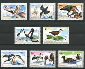 African-Birds-8-mnh-stamps-1975-Rwanda-652-9-pelican-kingfisher-heron-stork