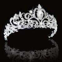 Newly Wedding Bridal Crystal Rhinestone Prom Hair Tiara Crown Veil Headband