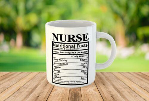 Infirmière Nutritional faits Thé Café Mug Céramique Cadeau Fantaisie Imprimé