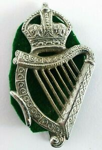 London-Irish-Rifles-Warrant-Officer-s-caubeen-badge-Cast-Chromed-67x37mm
