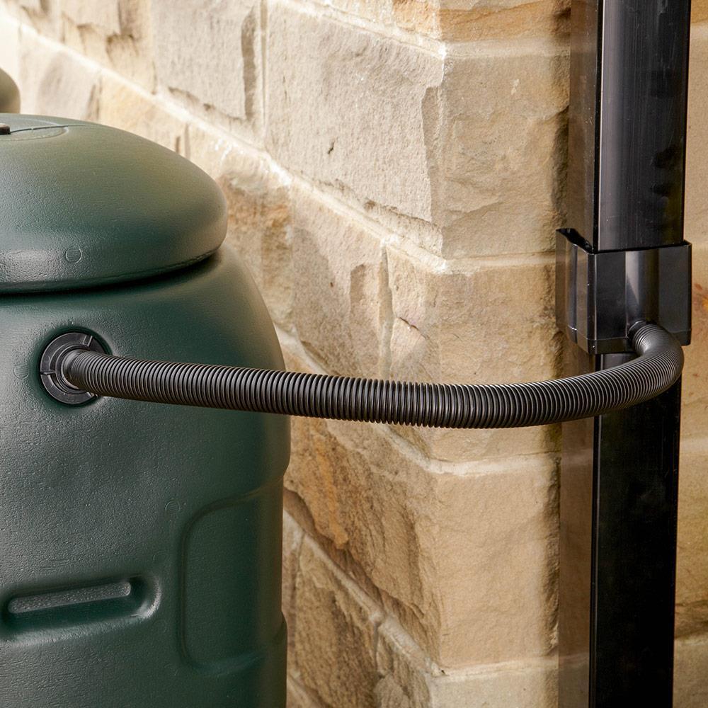 Straight Rainwater Diverter Kit fits 65mm Square & 68mm Round Pipes Black