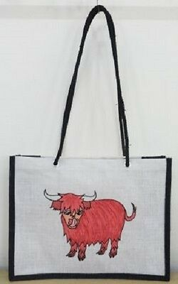 NEW.CRAZY CLEARANCE FRIESIAN COW DESIGN JUTE SHOPPING TOTE BAG