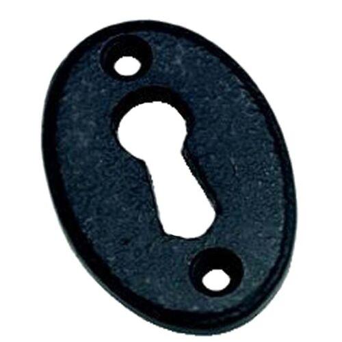 Rustique Ovale Trou Clé ouvert écusson en noir Fonte