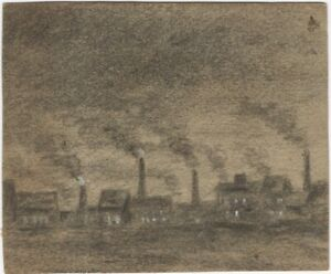 Vintage-Original-Charcoal-Drawing-of-Factories