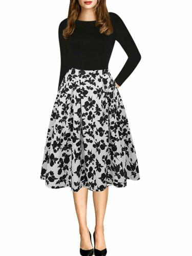 Oxiuly Women/'S Vintage Patchwork Pockets Puffy Swing Casual Party Dress Ox165