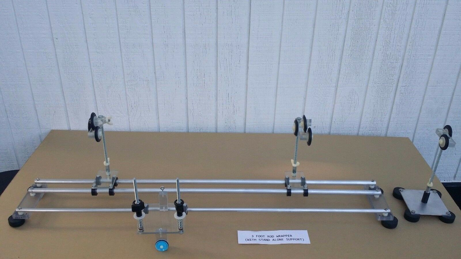 Aluminum fishing rod wrapper 3ft base w stand alone support winding very nice