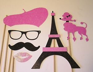 Pink And Black Paris Party Photo Booth Props Made W100 Glitter