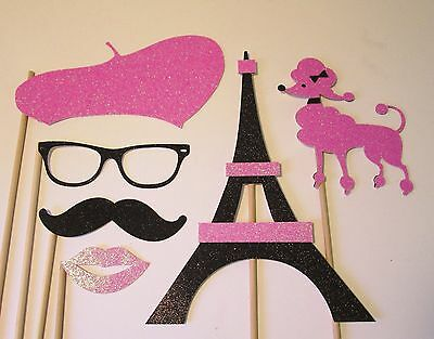 Pink and Black Paris Party Photo Booth Props made w//100/% Glitter Paper!