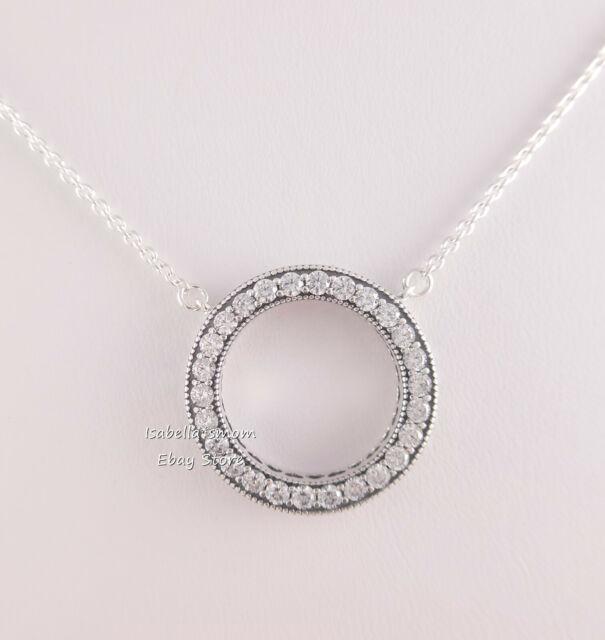 72ea88063 Hearts of PANDORA Necklace Reversible Signature CZ Sterling Silver 590514cz  for sale online | eBay