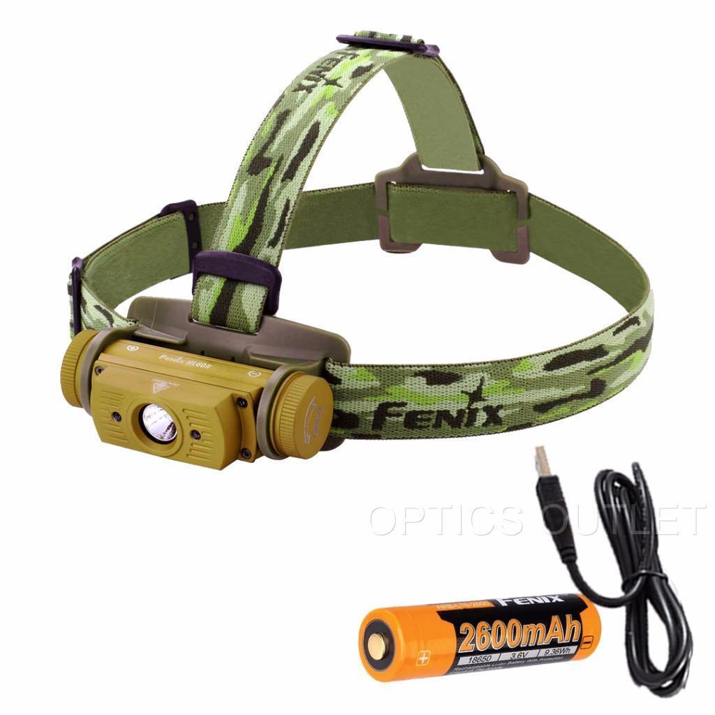 Fenix HL60R 950 Lumens Desert Yellow TAN Rechargeable Headlamp with  USB Adapters  fishional store for sale