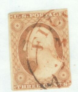 US-10a George Washington 3c ISSUED 1851-57 CANCELLED RED IMPERF