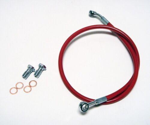 "2/"" RED EXTENDED REAR STEEL BRAIDED BRAKE LINE YAMAHA RAPTOR 660R 700 STREAMLINE"