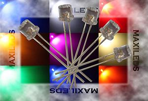 50x 5mm LED Flattop molto luminoso diodo Resistore 5mm