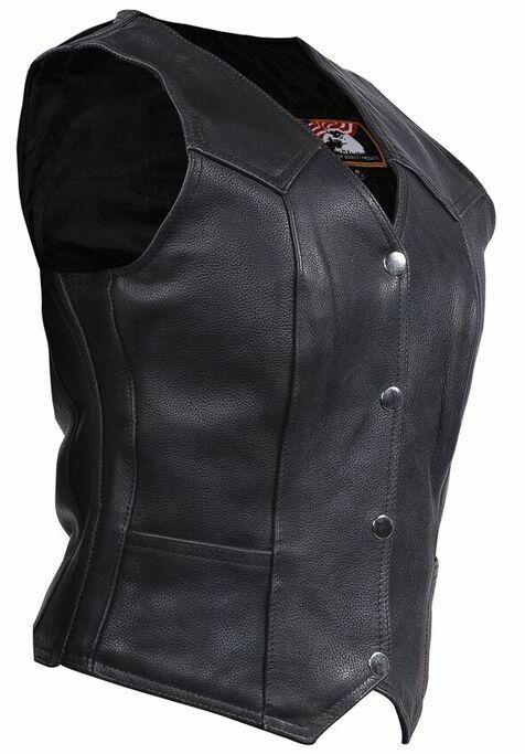 WOMENS MOTORCYCLE CLASSIC BIKER TRADITIONAL PLAIN PLAIN PLAIN LEATHER VEST VERY SOFT LEATHER 2223b0