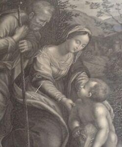 Rare-Gravure-XVIIIe-Le-repos-en-Egypte-d-039-apres-Raphael-Urbin-Phelippeaux-Graveur