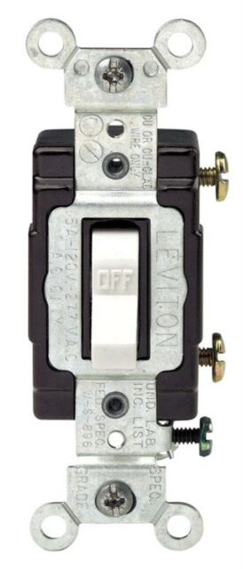 Leviton 15 Amps Single Pole Toggle Switch White For Sale