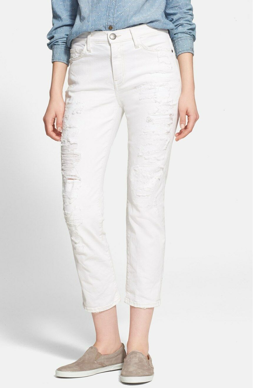 CURRENT ELLIOTT The High Waist Straight Destroyed Jeans Super Salty Repair 23
