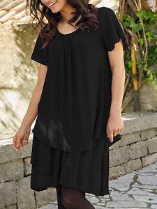 Nuevo-Tamano-8-10-12-14-16-18-negras-de-manga-corta-vestido-de-superposicion-de-capas-b8