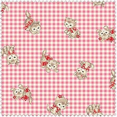 Quilt Gate USA POCKET KITTEN QUGLW 1907 11B Pink Plaid Kitten Toss