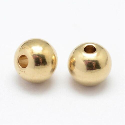 Metallperlen glatt rund  Perlen gold 6x5,5mm 10x #05.00325