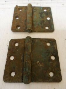 A pair of antique style iron spear head hinges box hinge trunk chest door H14