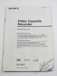 ORIGINAL OWNERS MANUAL for the SONY SLV N51 VHS VCR VIDEO CASSETTE RECORDER