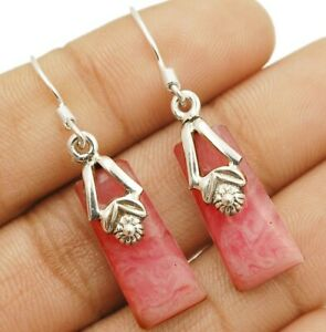 Natural-Pink-Opal-925-Solid-Sterling-Silver-Earrings-Jewelry-EA32-3