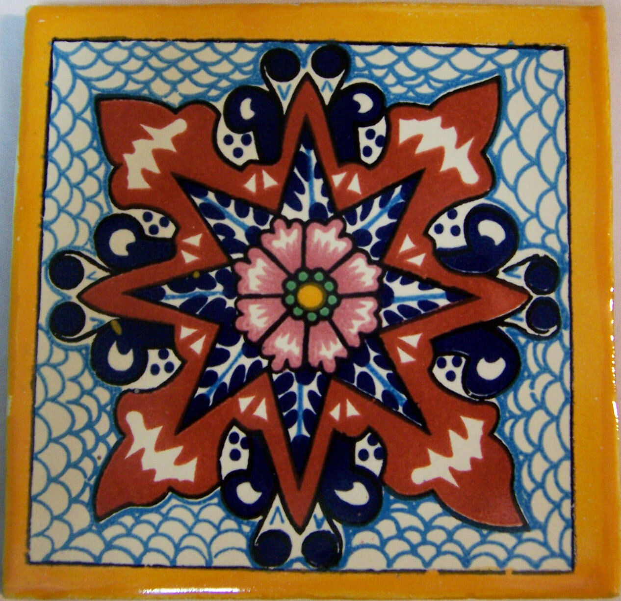 C283- Mexican Handmade Talavera Clay Tile Folk Art 4x4