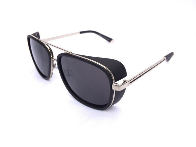 Iron Man Sunglasses Black Silver Robert Downey TONY STARK ORIGINAL  UV Metal
