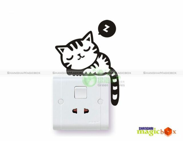Funny Children's Room Bedroom Cute Cat Nap Decal Switch Wall Sticker WALLS002
