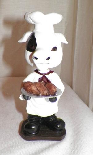 "NEW BOBBLEHEAD BARNYARD COW CHEF HOLDING TURKEY LEGS DECORATION STATUE FIGURE 6/"""