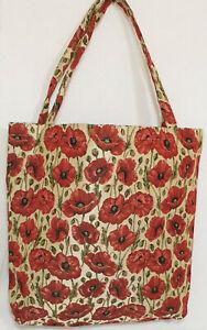 Mohnblumen-Blumen-Einkaufsbeutel-Tasche-Gobelin-Einkaufstasche-Tapestry-Shopper