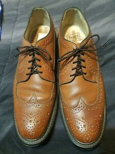 Vintage Sears Mens 11 11B Brown Leather Longwing Wingtip Oxford Dress Shoes
