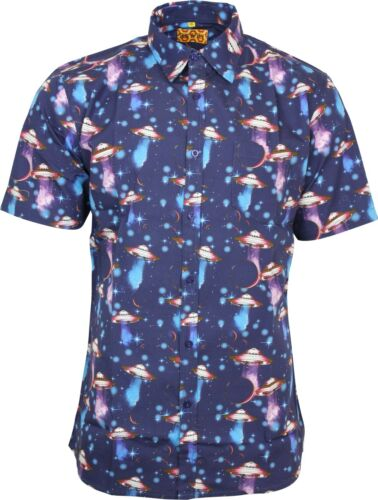 Run /& Fly Mens UFO Outer Space Print Short Sleeved Shirt Retro Kitsch 50s 60s