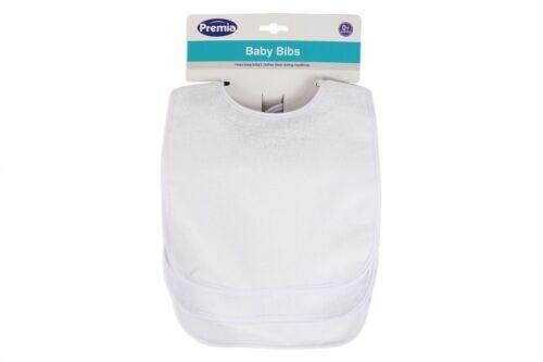 Paquete De 4 blancos Baberos Alimentación tiempo Niño Terry Bebé Babero Velcro Impermeable de vuelta