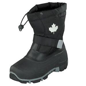 Indigo-Canadians-467-185-Bambini-Inverno-Stivali-da-Neve-Nero