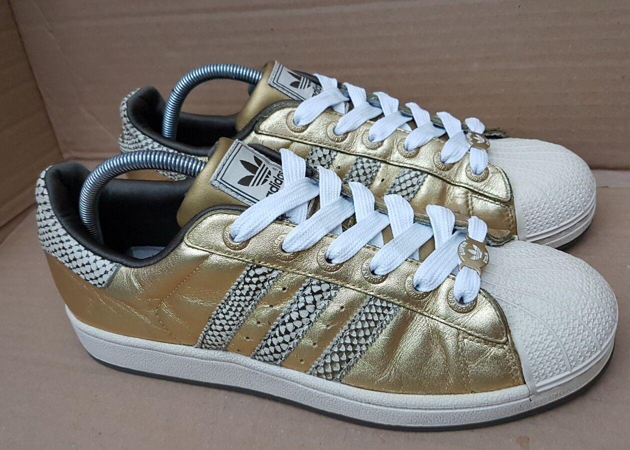 Adidas Superstar Zapatillas Piel De Serpiente Oro en tamaño 5 UK Raro DEADSTOCK