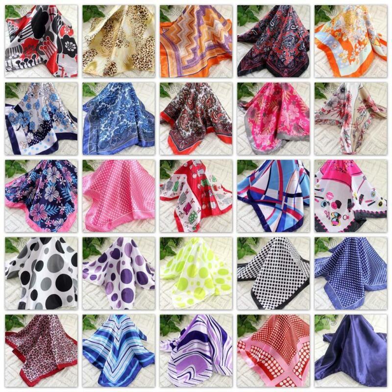 Neck Scarf 16 Vintage Elegant Designs Silk Satin Feel Ladies Small Square Head