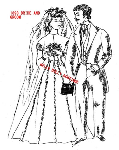 """11 1//2/"""" AND 12/"""" 1898 BRIDE AND GROOM PATTERN Rare Copy Barbie KEN"""