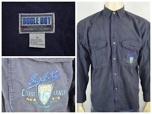 Vtg-Bugle-Boy-Navy-Blue-Coast-Land-Sea-Air-Btn-Front-Military-Shirt-Mens-Med