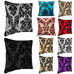 Damasco-Flocado-Cushion-Covers-o-ampollas-Almohadillas-insertos-relleno-18-034-x18-034-20-034-x20