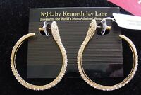 Kenneth Jay Lane Kjl Rhinestone Hoop Snake Earrings $94