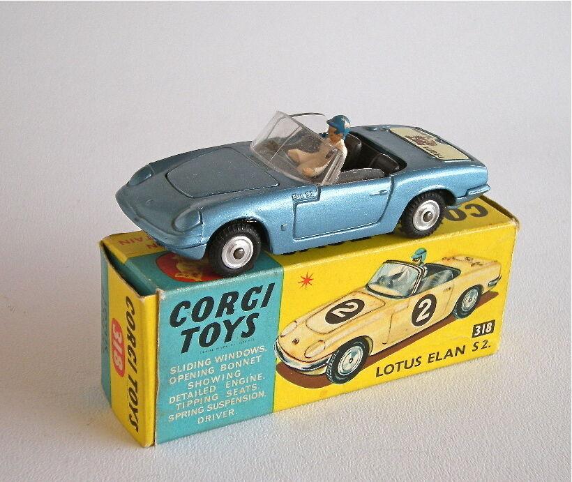 Corgi spielzeug 318 - lotus elan s2.- metallic - blau - vnmb sehr nahe - boxen