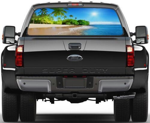 Tropical Exotic Beach Rear Window Decal Graphic Sticker Car Truck SUV Van 472