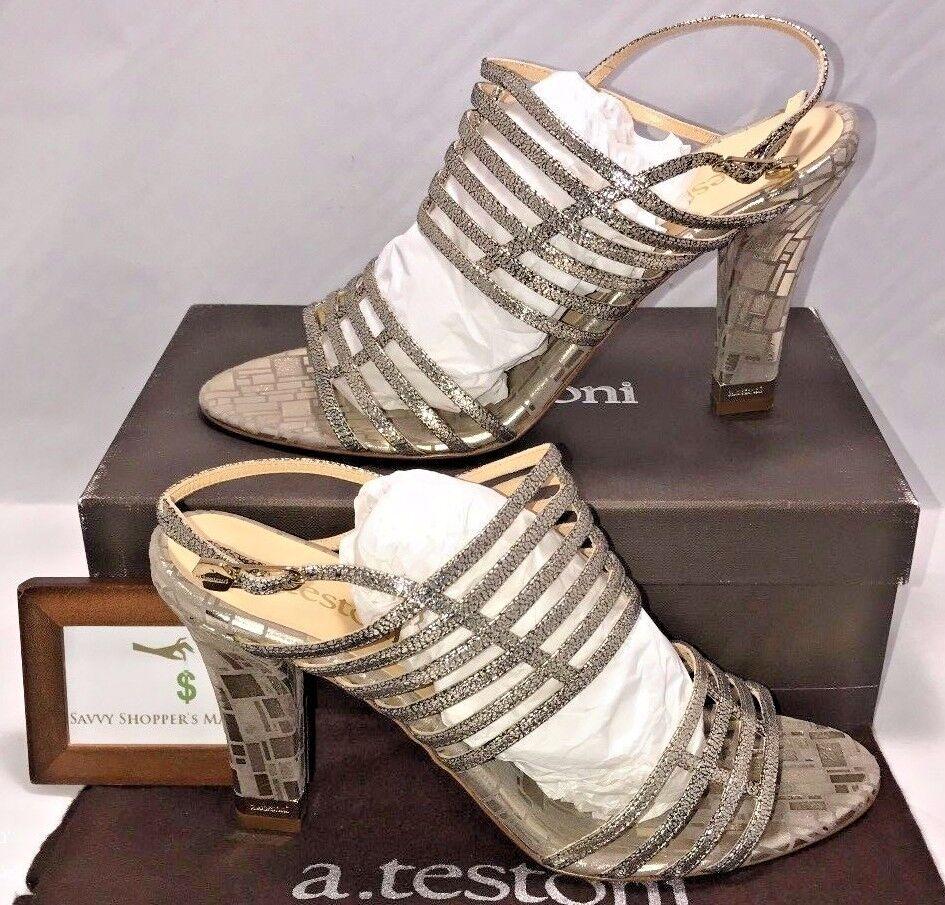 A.testoni Donna Size 10.5 EUR 40.5 Italian Designer Glitter Gold Heels New  655