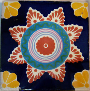 Mexican Handmade Talavera Clay Tile Folk Art 4x4  Handpainted Home, Furniture & DIY C186 Other Flooring